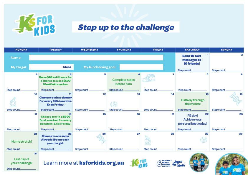 Ks for Kids calendar